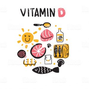 Vitamin D sources. Hand drawn circle illustration of different food rich of vitamin d. Vector